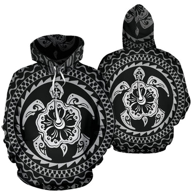 Turtle Hibiscus Tribal Polynesian Style All Over Print Hoodie