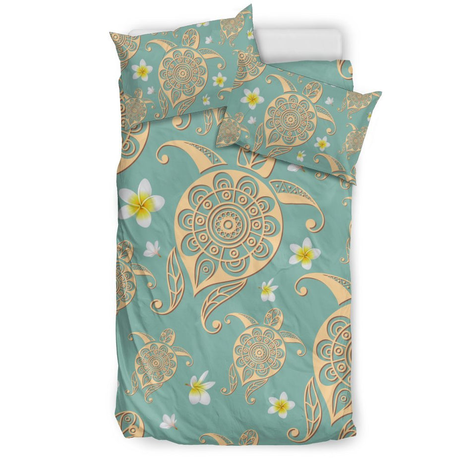 Tribal Sea Turtle Hawaiian Plumeria Duvet Cover Bedding Set
