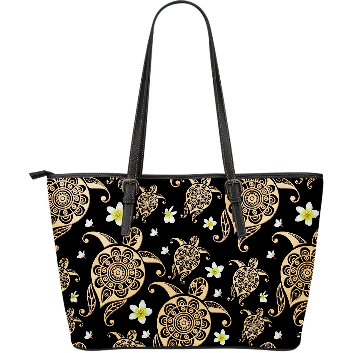 Turtle Polynesian Tribal Hawaiian Large Leather Tote Bag