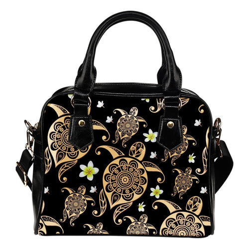 Honu Sea Turtle Plumeria Hawaiian Flowers Leather Shoulder Handbag
