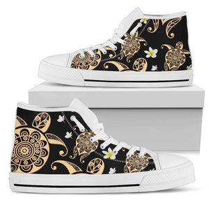 Turtle Polynesian Tribal Hawaiian Men High Top Shoes