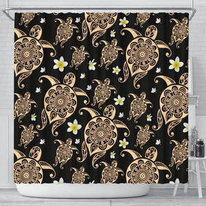 Turtle Polynesian Tribal Hawaiian Shower Curtain