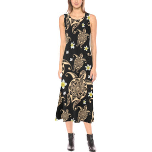 Turtle Polynesian Tribal Hawaiian Sleeveless Open Fork Long Dress