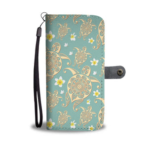 Plumeria tribal Honu Sea turtle Polynesian Wallet Phone Case