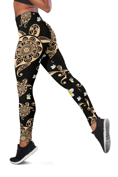 Turtle Polynesian Tribal Hawaiian Women Leggings