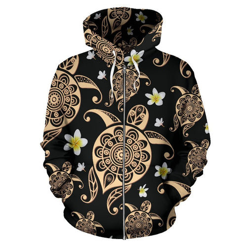Tribal Polynesian Sea turtle Hawaiian Women Men Zip Up Hoodie