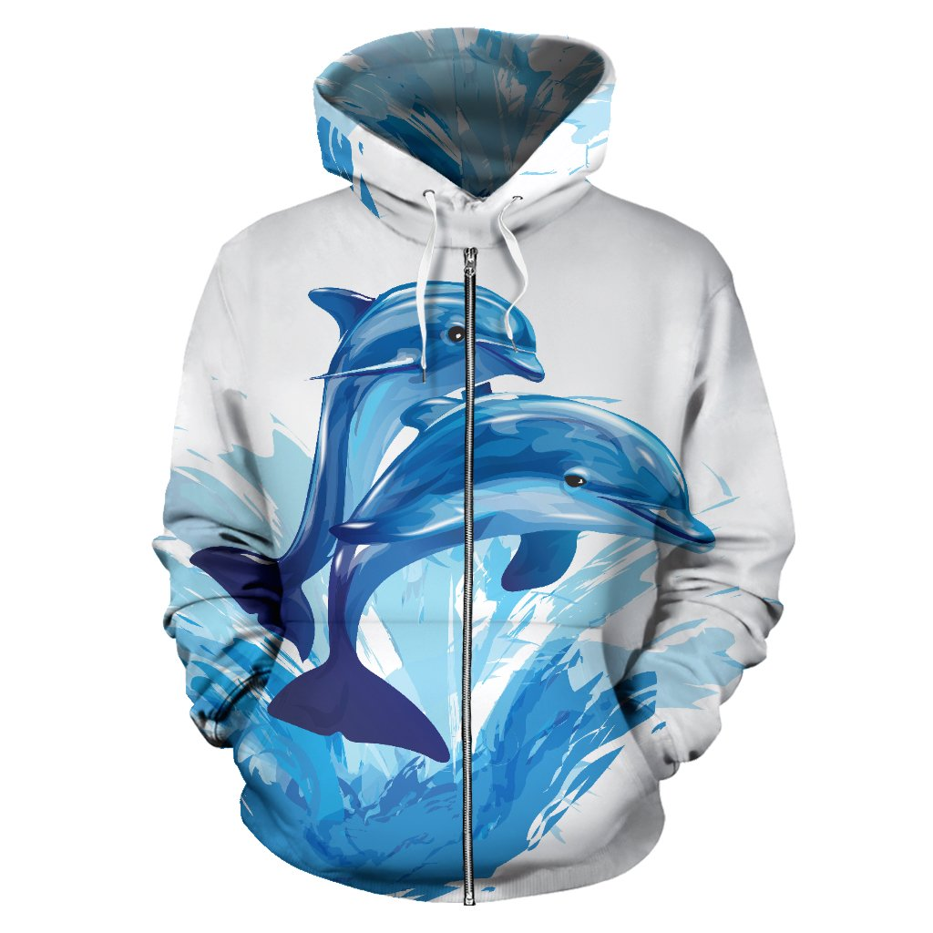 Two Dolphin All Over Zip Up Hoodie