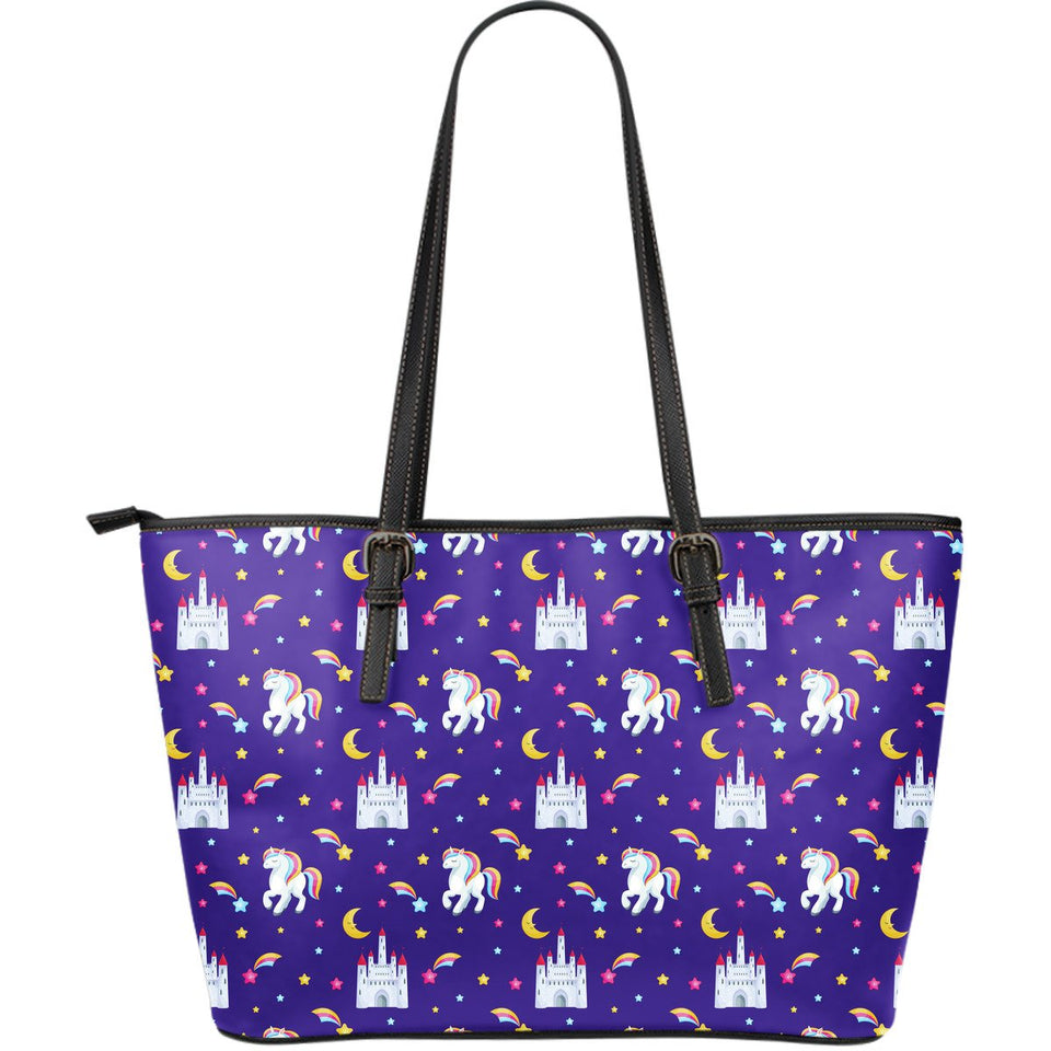 Unicorn Casttle Large Leather Tote Bag