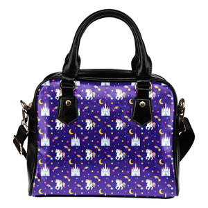 Unicorn Casttle Leather Shoulder Handbag