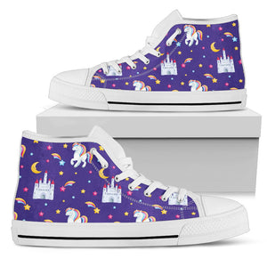 Unicorn Casttle Men High Top Shoes