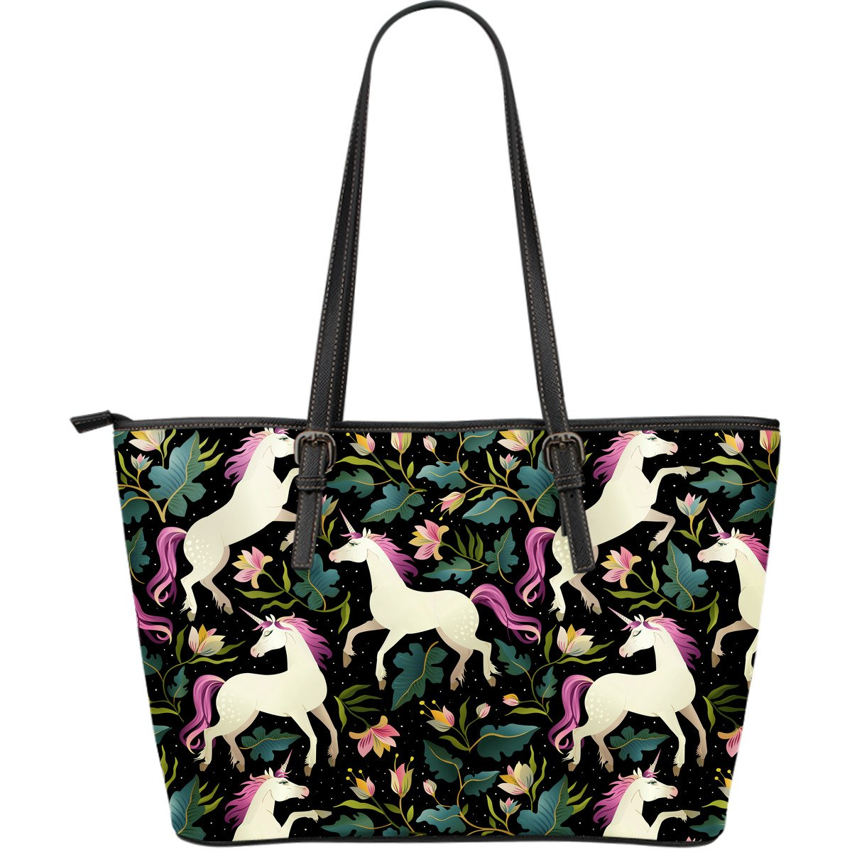Unicorn in Floral Large Leather Tote Bag