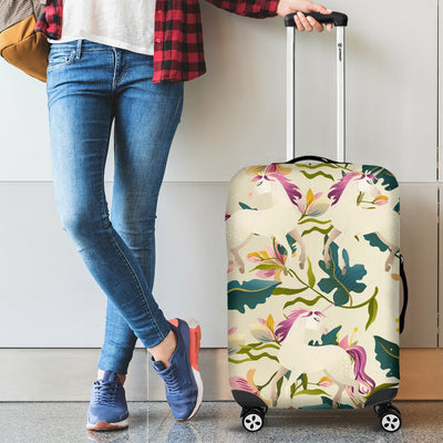 Unicorn in Floral Luggage Cover Protector
