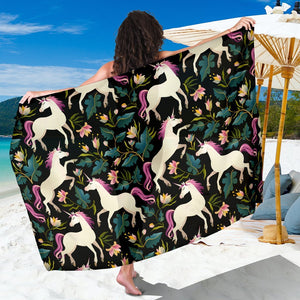 Unicorn in Floral Beach Sarong Pareo Wrap