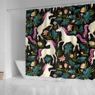 Unicorn in Floral Shower Curtain