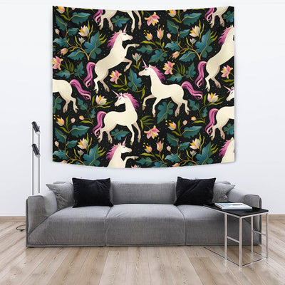 Unicorn in Floral Wall Tapestry