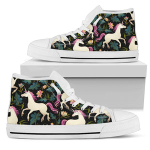 Unicorn in Floral Women High Top Canvas Shoes
