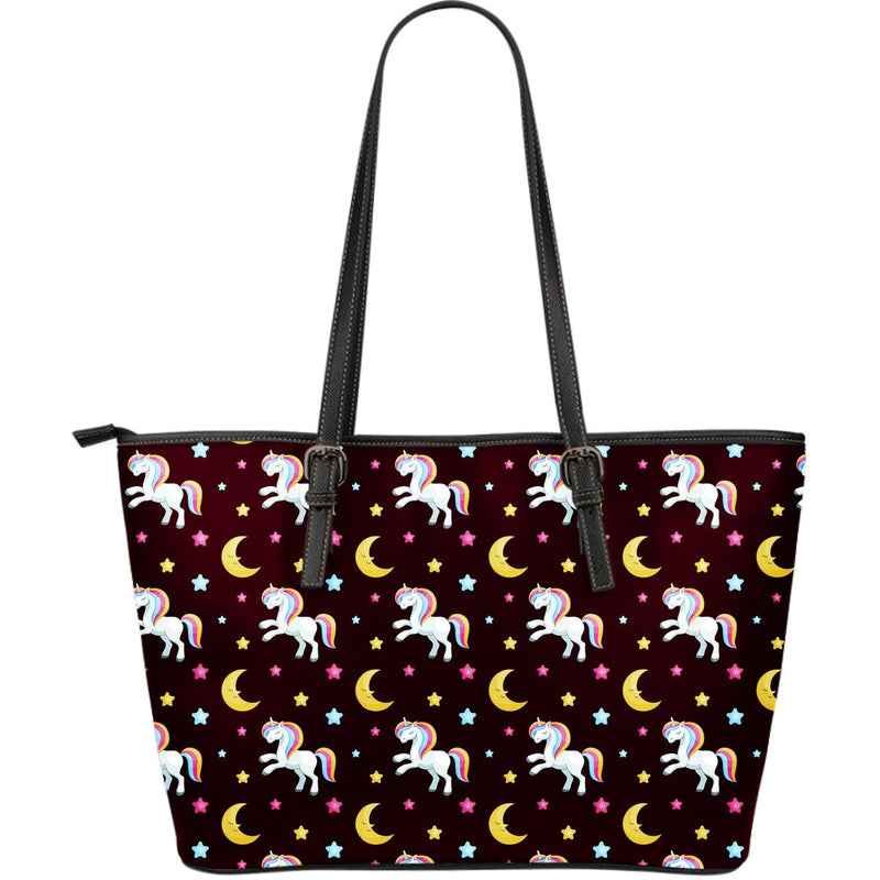 Unicorn Moon Star Large Leather Tote Bag