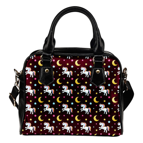Unicorn Moon Star Leather Shoulder Handbag