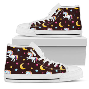 Unicorn Moon Star Men High Top Shoes