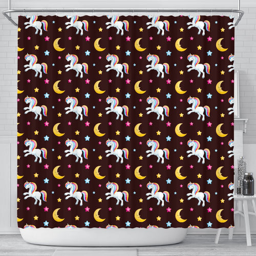 Unicorn Moon Star Shower Curtain