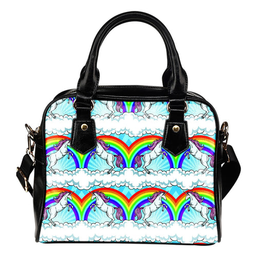 Unicorn Rainbow Leather Shoulder Handbag