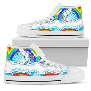 Unicorn Rainbow Men High Top Shoes