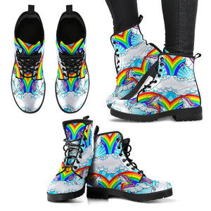 Unicorn Rainbow Women Leather Boots