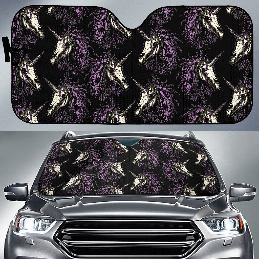 Unicorn Skull Head Car Sun Shade-JorJune