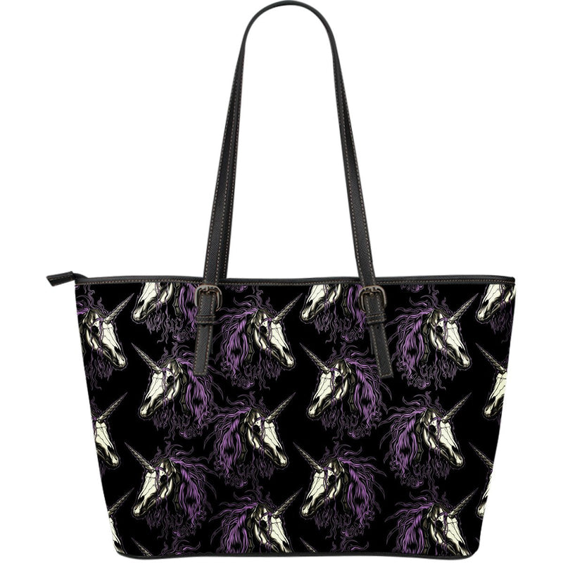 Unicorn Skull head Large Leather Tote Bag