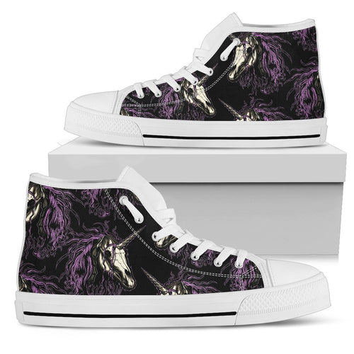Unicorn Skull head Men High Top Shoes