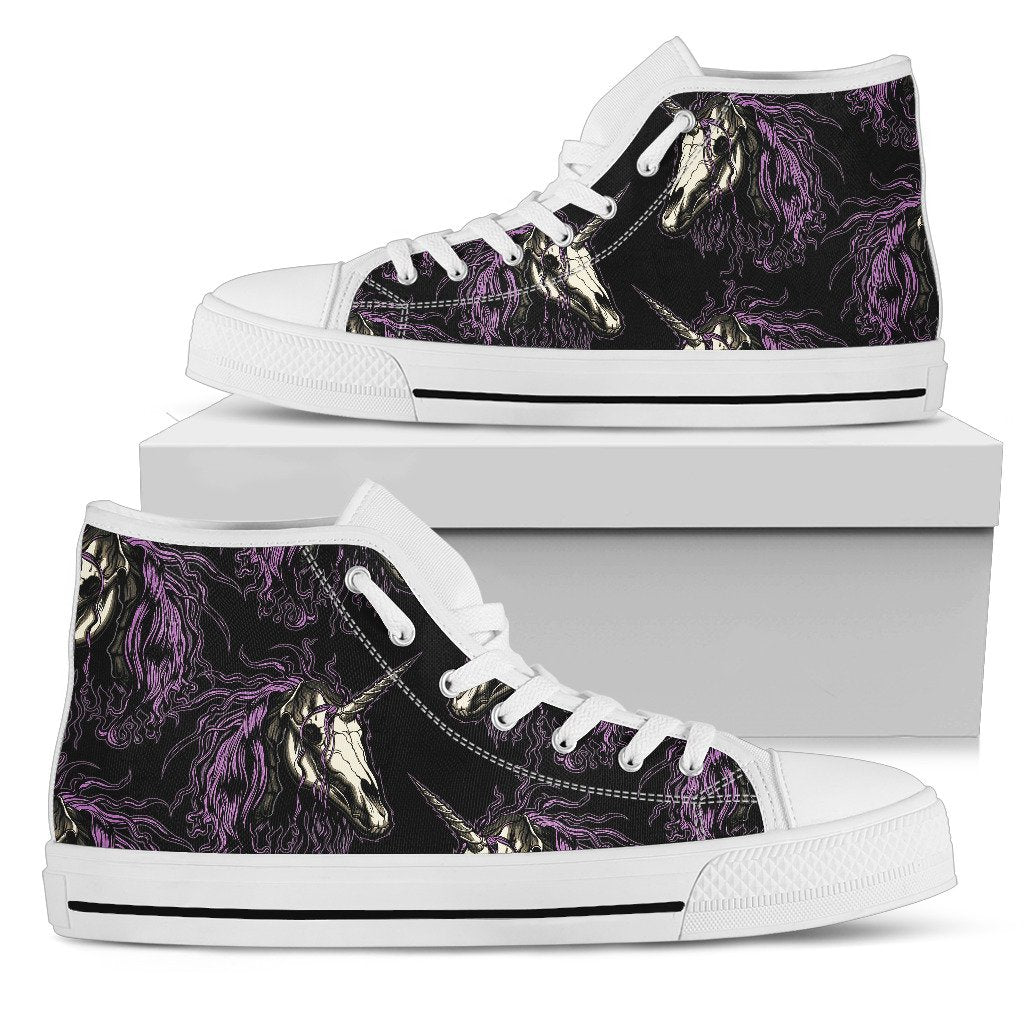 Unicorn Skull Head Women High Top Shoes