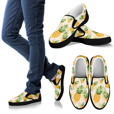 Vintage Pineapple Tropical Men Canvas Slip On Shoes