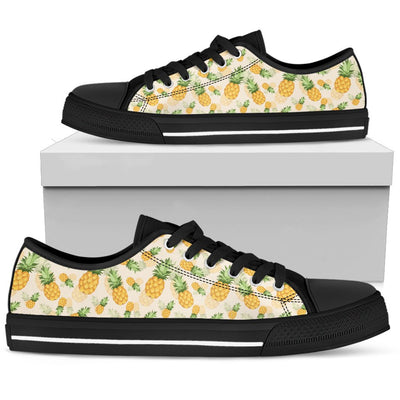 Vintage Pineapple Tropical Men Low Top Canvas Shoes