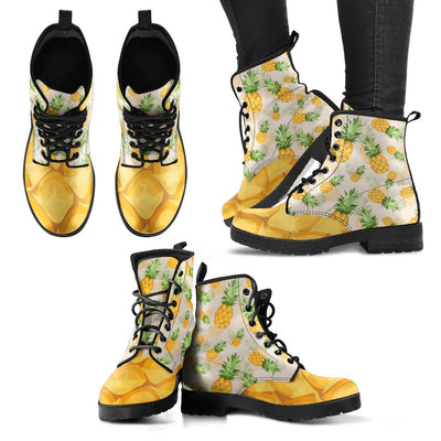 Vintage Pineapple Tropical Women & Men Leather Boots