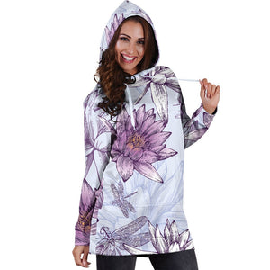 Water Lily Pattern Print Design WL01 Women Hoodie Dress
