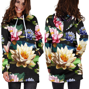 Water Lily Pattern Print Design WL02 Women Hoodie Dress