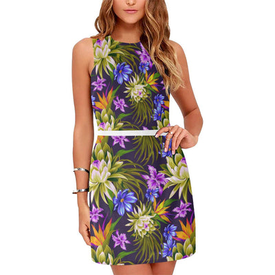 Water Lily Pattern Print Design WL08 Sleeveless Mini Dress-JorJune