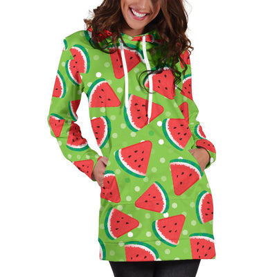 Watermelon Pattern Print Design WM05 Women Hoodie Dress