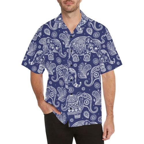 White Elephant Mandala Men Hawaiian Shirt
