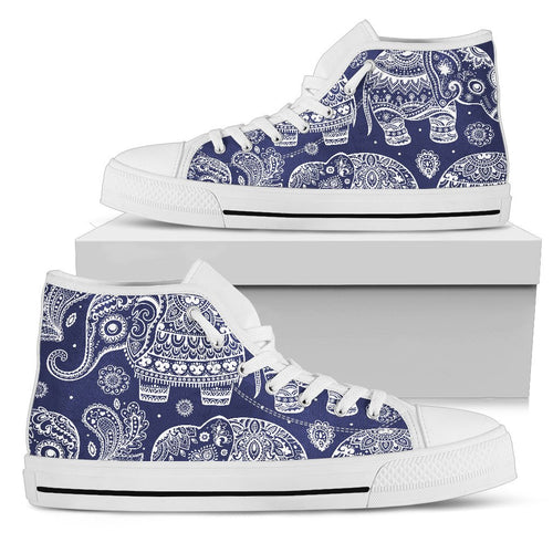 White Elephant Mandala Men High Top Shoes