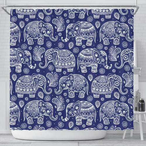 White Elephant Mandala Shower Curtain