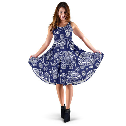 White Elephant Mandala Sleeveless Mini Dress