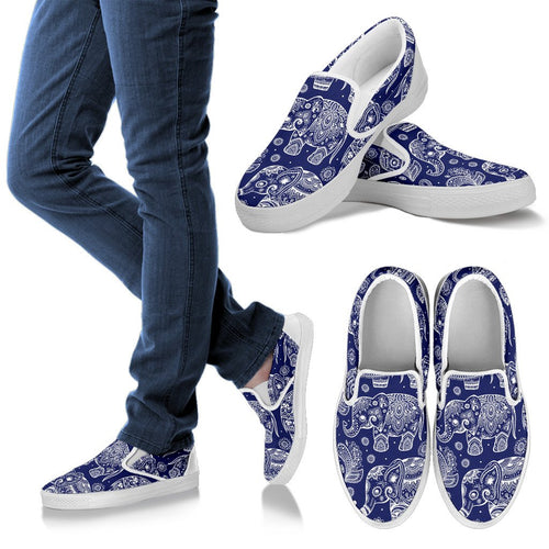 White Elephant Mandala Women Slip On Shoes
