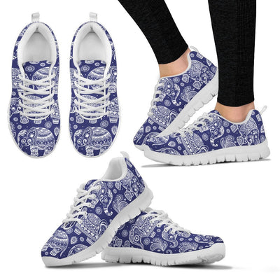 White Elephant Mandala Women Sneakers