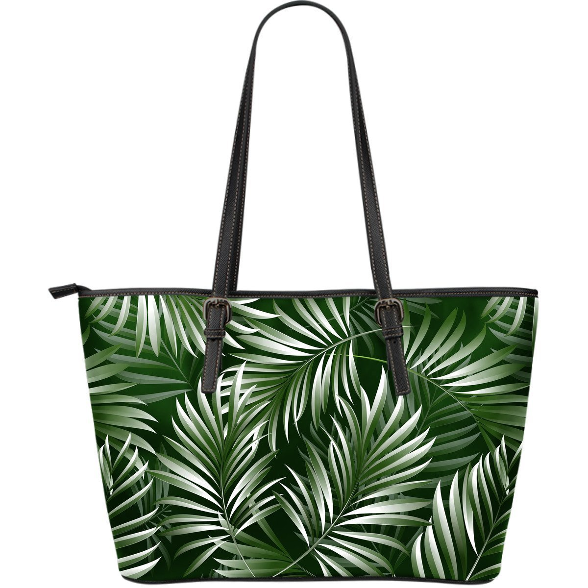 White Green Tropical Palm Leaves Large Leather Tote Bag