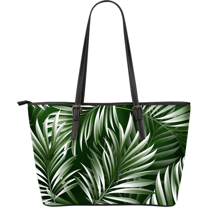 White & Green Tropical Palm Leaves Large Leather Tote Bag
