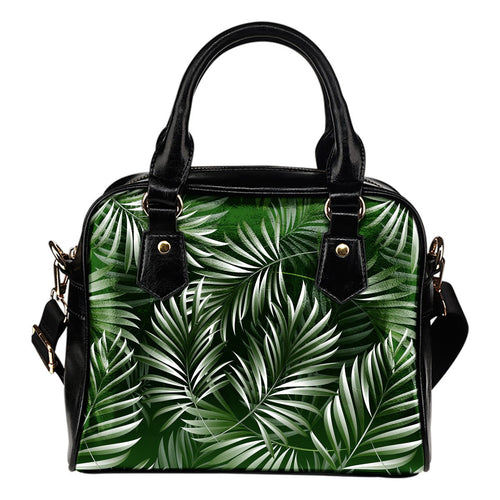 White Green Tropical Palm Leaves Leather Shoulder Handbag