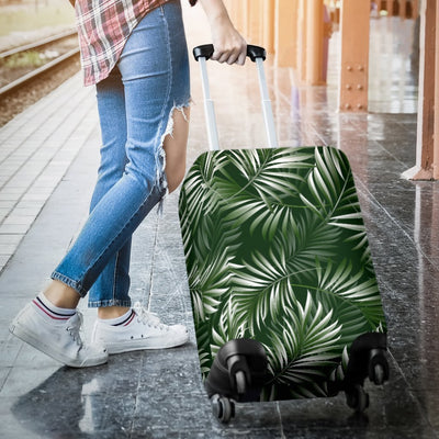 White _ Green Tropical Palm Leaves Luggage Protective Cover