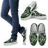 White & Green Tropical Palm Leaves Men Canvas Slip On Shoes