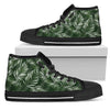 White & Green Tropical Palm Leaves Men High Top Canvas Shoes